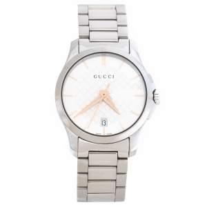 ساعة يد نسائية غوتشي G-Timeless 126.5 ستانلس ستيل بيضاء فضية 27 مم