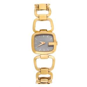 Gucci Brown Gold Plated Steel G Series 125.5 Women's Wristwatch 24 mm