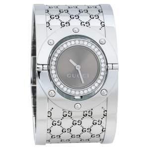 """ساعة يد نسائية غوتشي """"تويرل 112"""" ستانلس ستيل و ألماس برونزي 23 مم"""
