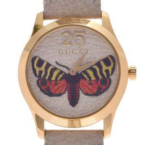 Gucci Ivory Gold Plated Stainless Steel G-Timeless Bee Quartz Women's Wristwatch 37 MM