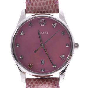 Gucci Pink Shell Stainless Steel G-Timeless Quartz Women's Wristwatch 28 MM