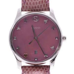 Gucci Pink Shell Stainless Steel G-Timeless Quartz Women's Wristwatch 28 MM