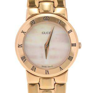 Gucci White Gold Plated Stainless Steel 3300L Quartz Women's Wristwatch 25 MM