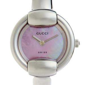 Gucci Pink MOP Stainless Steel 1400L Women's Wristwatch 25 MM