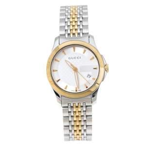 ساعة يد نسائية غوتشي جي تايملس 126.5 ستانلس ستيل لونين فضي 27 مم