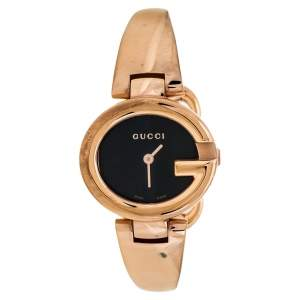 Gucci Black Rose Gold Tone Stainless Steel Guccissima YA134509 Women's Wristwatch 27 mm
