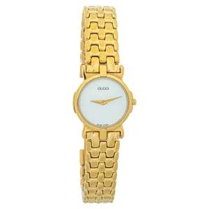 Gucci Mother Of Pearl Gold Plated Stainless Steel Miss 3400L Women's Wristwatch 22 MM