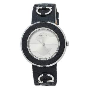 Gucci Silver Stainless Steel Leather U-Play 129.4 Women's Wristwatch 35 mm