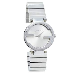 Gucci Silver Stainless Steel Interlocking YA133503 Women's Wristwatch 29 mm