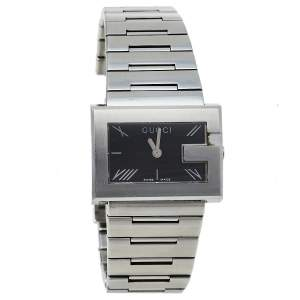 Gucci Black Stainless Steel G-Rectangle 100L Women's Wristwatch 31 mm