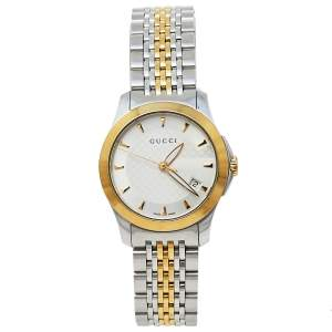 Gucci Silver Two-Tone Stainless Steel G-Timeless YA126505 Women's Wristwatch 27 mm