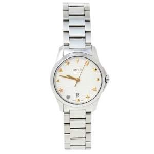 Gucci Silver Stainless Steel G-Timeless YA126572A Women's Wristwatch 27 mm