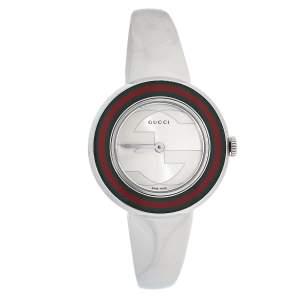 Gucci Silver Stainless Steel Web U-Play 129.5 Women's Wristwatch 27 mm