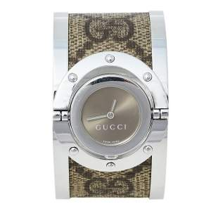 ساعة يد نسائية غوتشي تويرل YA112425 كانفاس جي جي و ستانلس ستيل بنيه 33 مم