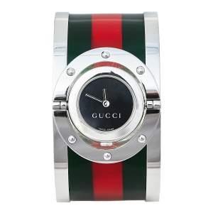 Gucci Black Stainless Steel Web Twirl Large YA112417 Women's Wristwatch 33 mm