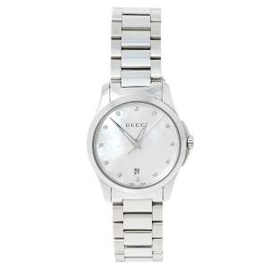 Gucci Mother of Pearl Stainless Steel G-Timeless YA126542 Women's Wristwatch 27 mm