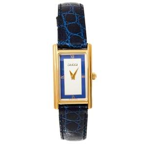 Gucci Two Tone Gold Plated Stainless Steel Leather Vintage 2600L Women's Wristwatch 19 mm