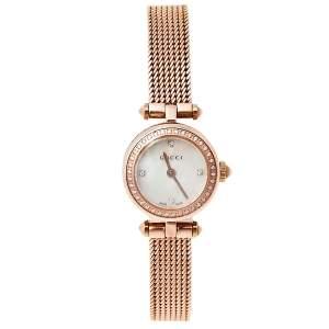 Gucci Mother Of Pearl Rose Gold Tone Stainless Steel Diamond Diamantissima YA141562 Women's Wristwatch 22 mm