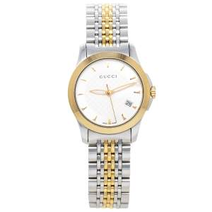 ساعة يد نسائية غوتشي جي تايمليس 126.5 ستانلس ستيل ثنائي اللون فضية 27 مم