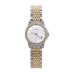 Gucci Silver Diamonds Two-Tone Stainless Steel G-Timeless 126.5 Women's Wristwatch 27 mm