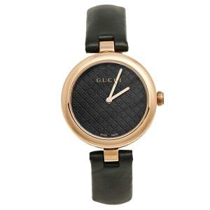 Gucci Black Rose Gold Plated Stainless Steel Leather Diamantissima 141.4 Women's Wristwatch 32 mm