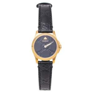 ساعة يد نسائية غوتشي جي- تايمليس 126.5 ستانلس ستيل مطلي بالذهب وجلد سوداء 27 مم