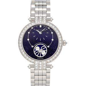 Harry Winston Blue Diamonds 18K White Gold Premiere Precious Moon Phase PRNAMP36WW002 Women's Wristwatch 36 MM
