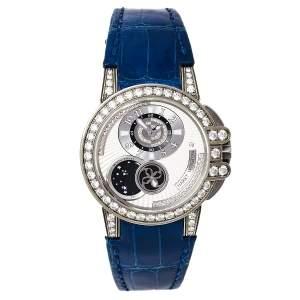 ساعة يد نسائية هاري وينستون أوشن ليدي Z مون فيز 400-UAMP36Z جلد ألماس فضي زاليوم 35 مم