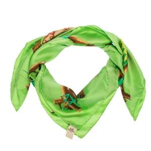 Hermes Green Le Robinson Chic Silk Square Scarf