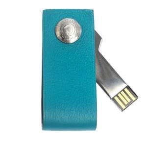 Hermes Blue Paon Swift Leather In The Pocket Lacie USB Key