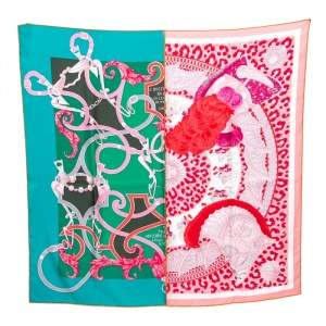 Hermes Green & Rose Plumets Du Roy Silk Scarf