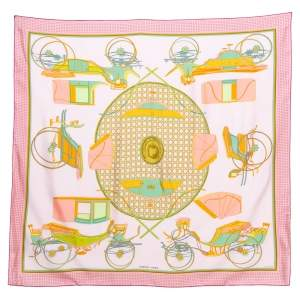 Hermes Pale Rose Les Voitures a Transformation Silk Square Scarf