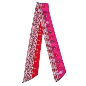 Hermes Red & Pink Parures des Maharajas Silk Twilly Scarf
