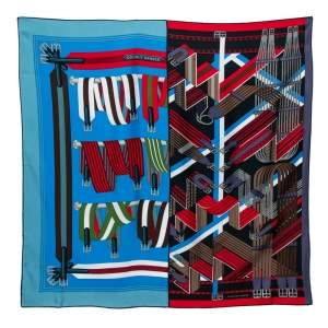 Hermes Cobalt Blue Double Sangle Silk Square Scarf
