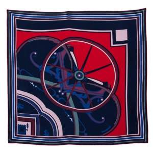 Hermès Dark Blue Washington's Carriage Detail Wash Silk Scarf