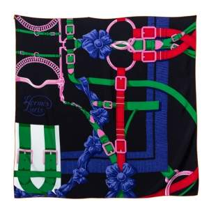 Hermes Black Grand Manege Detail Silk Square Scarf