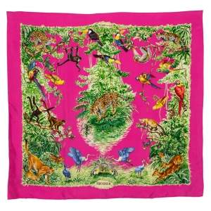 Hermes Rose Equateur Wash Silk Scarf