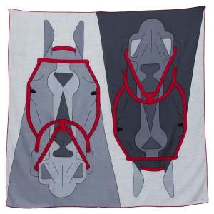 Hermes Grey & Red Tete-a-Tete Equestre Cashmere & Silk Scarf