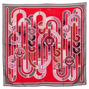 Hermes Red & Rouge Melodie Chromatique Silk Scarf