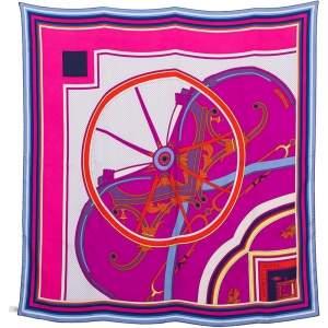 Hermes Fuschia Washington's Carriage Detail Washed Silk Scarf