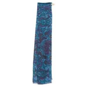 Hermes Blue La Charmante Aux Animaux Mousseline Silk Stole