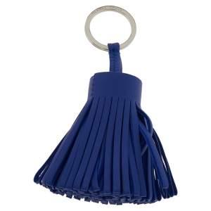 Hermes Blue Leather Carmen Tassel Key Ring