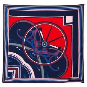 Hermes Marine Blue/Rouge Washington's Carriage Silk Scarf