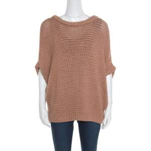 Hermes Cinnamon Brown Chunky Open Knit Linen Batwing Sleeve Sweater L