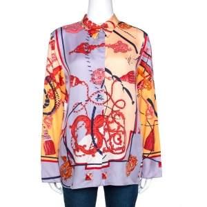 Hermes Multicolor Les Cléfs Printed Silk Blouse M