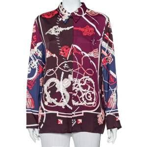 قميص هيرمس كلاسيك حرير متعدد الألوان بطبعة مقاس كبير - لارج