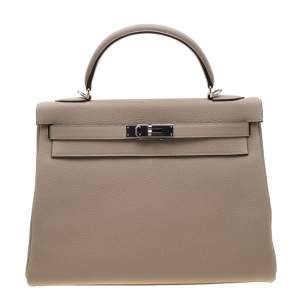 Hermes Gris Tourterelle Togo Leather Palladium Hardware Kelly Retourne 32 Bag