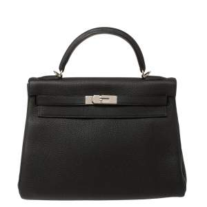 Hermes Black Togo Leather Palladium Hardware Kelly Retourne 32 Bag