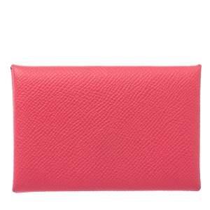 Hermes Rose Azalee Epsom Leather Calvi Card Holder