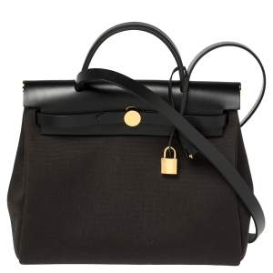 Hermes Black/Ebene Canvas and Leather Herbag Zip 31 Bag